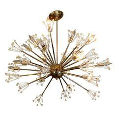 Mid Century Brass and Glass Sputnik Chandelier by Emil Stejnar