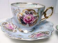 "Vintage Pair of Tea Cups and Saucers,  ""Tea for Two"" in Mint and Blue with Pretty Pink Roses"