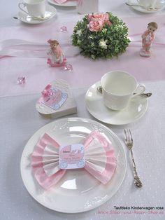 Tischkarten Kinderwagen Taufe + Druck + Servietten weiß rosa