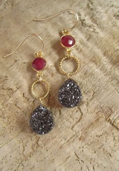 Chocolate Brown Druzy Earrings Titanium Drusy Quartz Gold Vermeil Bezel Set Red Ruby. $90.00, via Etsy.