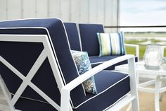 Pillows make a great addition to your outdoor furniture.  Mix and match your allen + roth pillows for the perfect look.