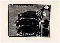 John Muafangejo (Namibian, 1943-1987): The Morning Star of South Africa, 1974. Linocut, 48.6 x 62.6 cm. National Gallery of Australia, Canberra, Australia. © John Muafangejo Trust.