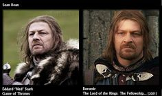 When fandoms collide... Sean Bean:  Boromir - The Lord of the Rings (Fellowship of the Ring). Eddard 'Ned' Stark - Game of Thrones.