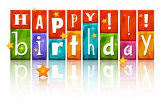 Transparent Colorful Happy Birthday with Stars PNG Image
