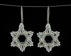Snow White and Silver Snowflake Beaded Earrings - these would look nice with crystal or rainbow crystal seed beads instead of the opal seed beads.