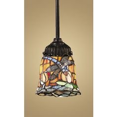 Westmore Lighting San Rafael 3-in W Tiffany Bronze Tiffany-Style Pendant Light with Tiffany-Style Glass Shade