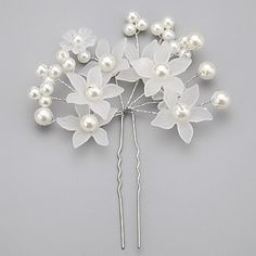 Women/Flower Girl Alloy/Imitation Pearl/Acrylic Hairpins With Wedding/Party Headpiece – AUD $ 8.27