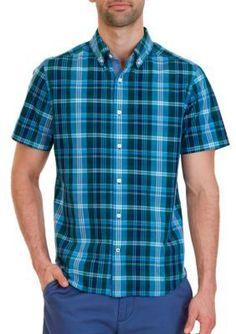 Nautica Tidal Green Classic Fit Riviera Plaid Short Sleeve Shirt