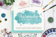 Watercolor Design Kit. Logo Templates. Watercolor Logo pack. Wedding design pack. Watercolor shapes circles washes. Brand Identity Pack (15.00 USD) by SwitzerShop
