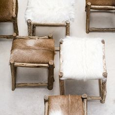 Rustic Fur Stools via Tricia Rose