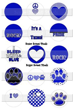 INSTANT DOWNLOAD Blank Blue White Paw School  by sugarnspicebow