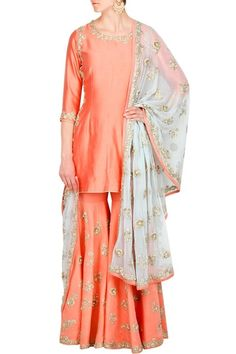 peach sharara, silk sharara, gold scattered motifs, white dupatta, peach border