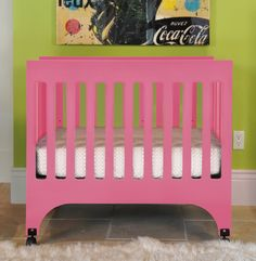 Portable, Compact, Babyletto Grayson Crib in Pink! #babyletto #baby #nursery #crib