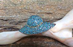 Blue Hat Brooch, Vintage Ladies Hat Brooch, Women's Hat Brooch by PassingTides on Etsy