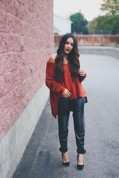 brick red Sheinside sweater - black leather Sheinside pants Women's fall fashion date outfit idea going out