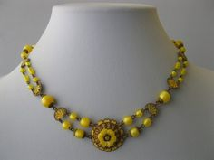 Vintage 1930s Art Nouveau Deco Yellow Czech Glass Enamel Pendant Necklace | eBay