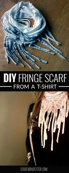 Fringe T-Shirt Scarf Make a fringe t-shirt scarf in 5 minutes or less! Cute, comfy, and customizable! by Make a fringe t-shirt scarf in 5 minutes or less! Cute, comfy, and customizable! Diy Scarf, Scarf Shirt, T Shirt Yarn, Shirt Scarves, Sewing Hacks, Sewing Tutorials, Sewing Crafts, Sewing Patterns, Sewing Ideas