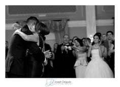 Emotional mother son dance at this wedding.