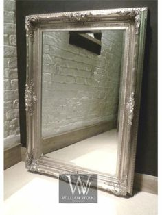 Isabella Silver Shabby Chic Rectangle Antique Wall Mirror