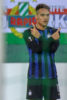 Lautaro Martinez of FC Internazionale celebrates after scoring a goal. February 14, Europa League, Vienna Austria, Scores, Hair Cuts, Football, Goals, Club, Celebrities