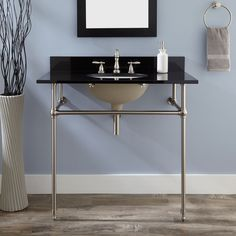 """36"""" Art Deco Undermount Console Sink. Chrome/White basin/Carrera marble top. SKU926664. 8"""" centers.$870.95. MASTER BATH sink x 2. use these if a 48"""" is too big for space with a furniture piece in between such as an apothecary cupboard."""