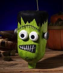 painted milk jug into Frankenstein's head