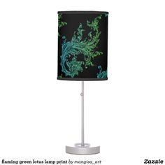 flaming green lotus lamp print