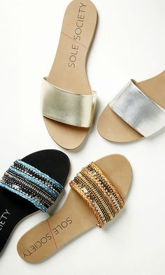 Comfortable slip-on banded leather flat sandals