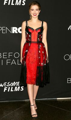 Zoey Deutch in a red-and-black lingerie-inspired dress