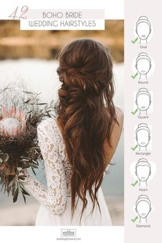 42 Boho Wedding Hairstyles ♥ Here you will find a plethora of boho wedding hairstyles for any tastes, starting with elegant braided updos and ending with some creative solutions. frisuren 42 Boho Wedding Hairstyles To Fall In Love With Wedding Hairstyle Images, Best Wedding Hairstyles, Bride Hairstyles, Bohemian Wedding Hairstyles, Hairstyle Ideas, Hair Ideas, Hairstyles Pictures, Romantic Wedding Hairstyles, Fall Hairstyles