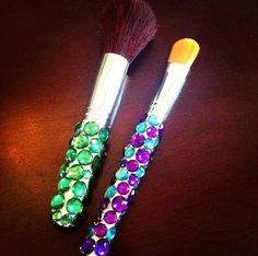 DIY rhinestoned makeup brushes