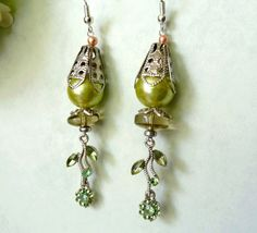 Vintage Earrings Collection Princess Romantic Delicate Pearl earrings Vintage elements Delicate light-green color