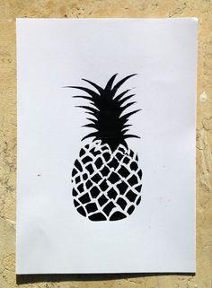 Original Art Pineapple / Ananas Monotype Print Acrylic Gelli