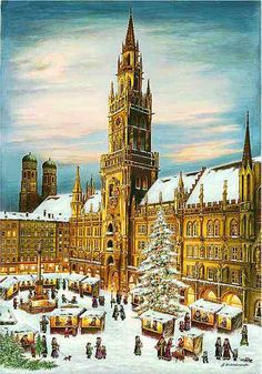 """Munich, Germany. FromBrück and Sohn (Printers in Meissen, Germany since 1793) a charming Advent Calendar of Munich(the capital of the Free State of Bavaria, Germany) depicting the Christmas Market in front of the Rathaus and Glockenspiel. Art by G. Hildebrandt. This delightful advent calendar is 10"""" x 15"""".  Made in Germany. Available at www.mygrowingtraditions.com"""