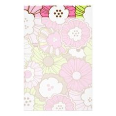 Pretty Pink Green Flowers Spring Floral Pattern Stationery Design
