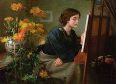 At The Easel by Unknown Artist