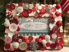 Each Picture Frame is a one of a kind creation. Vintage buttons are layered to create a three dimensional, layered effect. In addition to vintage buttons, vintage jewelry has been added for additional sparkle! Buttons are combined in color stories to make a cohesive, pulled