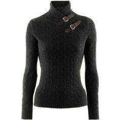 Ralph Lauren Anthra Cashmere Pullover Granite found on Polyvore. This would make me look like a secret agent!