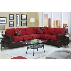 Indulge in a seat of luxury with this sectional. Draped in your selection of smooth and plush microfiber cushions and framed in a dark brown faux leather boxed design.