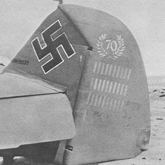 The tail of Hans-Joachim Marseille's Bf 109 fighter showing 101 kills, circa Aug 1942