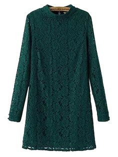 Shop Dark Green Long Sleeve Lace Shift Dress from choies.com .Free shipping Worldwide.$19.9