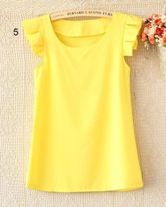 Cap-Sleeve Frilled Chiffon Top, 5 , Yellow , One Size - Ringnor | YESSTYLE Australia