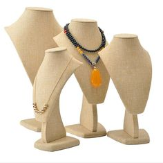 Beige colour of necklace stands from Winnerpak's linen jewelry display items. Necklace Display, Jewellery Display, Pendant Jewelry, Pendant Necklace, Beige Color, Colour, Jewelry Organization, Portrait, Shoe Boots