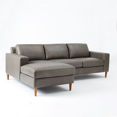 york 2piece leather chaise sectional west elm approx current seat height is