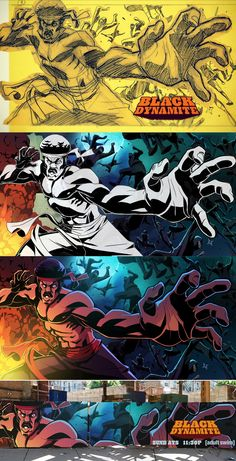 BLACK DYNAMITE BILLBOARD PROCESS by `LeSeanThomas on deviantART.  Never seen the show, but I love the art.  I miss having cable.