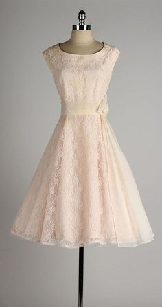 vintage 1950s dress . blush lace . chiffon by millstreetvintage | vintage 50s fashion style