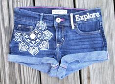 Girls Hand Painted Shorts Upcycled Abercrombie Kids Bohemian Jean Shorts Size 9/10