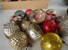 Set of 16 Small Vintage 1930's German Hand Blown Glass Ornaments