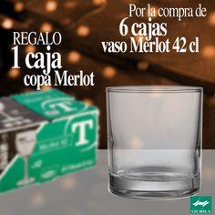 Por la compra de 6 cajas de vaso Merlot, te regalamos 1 caja de copas Merlot. El vaso Merlot es un vaso multiusos, con una base robusta que puede utilizarse para servir refrescos y zumos. La copa Merlot es una copa básica de mesa adaptable a cualquier situación.