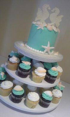 Seafoam green and seahorses Seahorses, Sea Foam, Food Art, Wedding Cakes, Animal, Green, Desserts, Wedding Gown Cakes, Tailgate Desserts